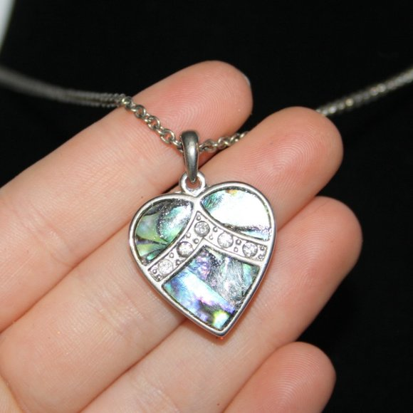 Beautiful silver and Abalone Shell heart necklace